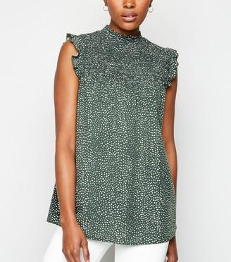 New Look Spot Shirred Neck Sleeveless Shirt