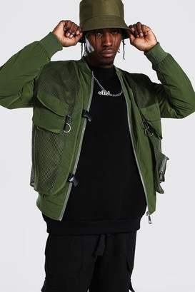 boohoo Mens Green 2 In 1 Utility Vest Bomber, Green