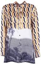 Dries Van Noten Grandad Collar Printed Blouse
