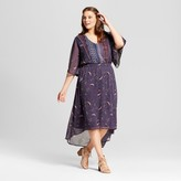 Xhilaration Women's Plus Size Easy Waist Woven Print Dress Blue