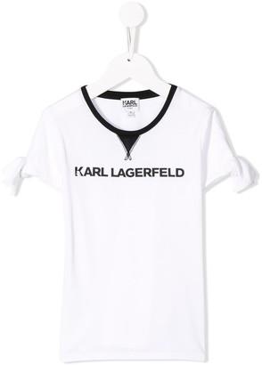 Karl Lagerfeld Paris logo bow sleeve T-shirt