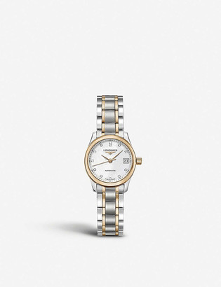 Longines L2.128.5.89.7 Master stainless steel, 18ct rose gold plated and diamond watch