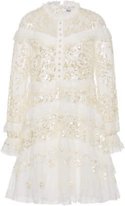 Needle & Thread Ava Floral-Lace Sequin Mini Dress