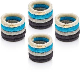 Mercedes Salazar Set-Of-Four Black Raffia Napkin Rings