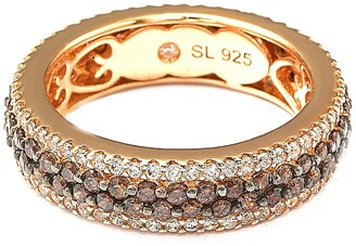Suzy Levian Sterling Silver Brown & White Pave Eternity Band