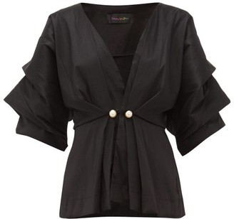 Romance Was Born Venus Faux Pearl-embellished Taffeta Blouse - Womens - Black