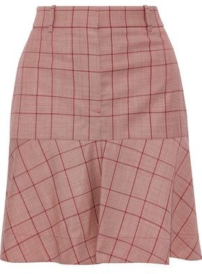 Calvin Klein Fluted Prince Of Wales Checked Wool Mini Skirt
