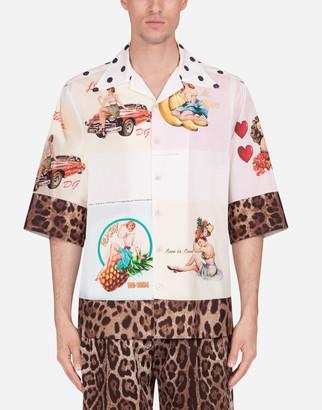 Dolce & Gabbana Cotton Hawaii Shirt With Postcard Print