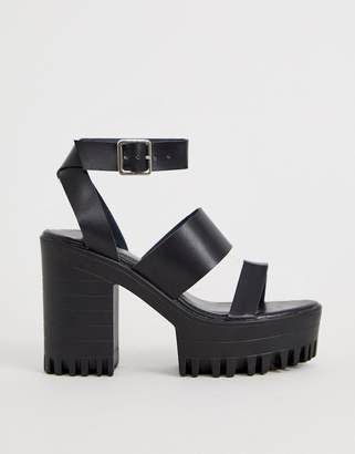 Public Desire Ibiza chunky strap sandals-Black