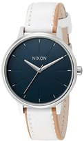 Nixon Women's A108321 Kensington Stainless Steel Watch with White Faux-Leather Band