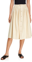 Giuliva Heritage Collection Jewel-Button Front Midi Skirt