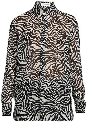 Saint Laurent Zebra Print Button Down Blouse