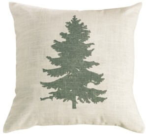 """HiEnd Accents 18""""x18"""" Green Pine Tree Pillow"""