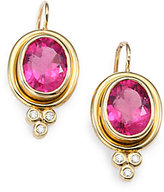 Temple St. Clair Classic Color Pink Tourmaline, Diamond & 18K Yellow Gold Oval Drop Earrings