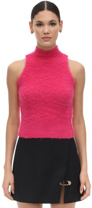 Versace HALTER NECK MOHAIR BLEND KNIT CROP TOP