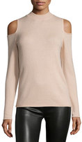 Halston Wool-Cashmere Cold-Shoulder Sweater, Quartz Pink