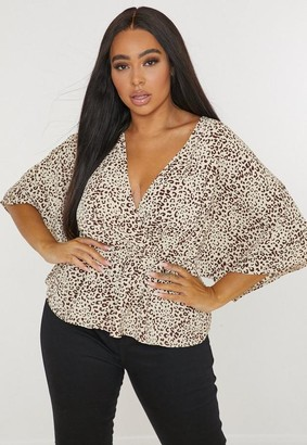 Missguided Plus Size Brown Animal Print Wrap Kimono Sleeve Top