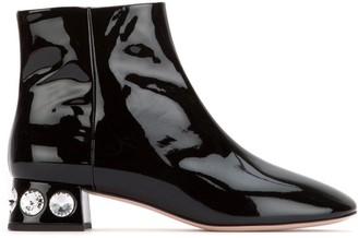 Miu Miu Embellished Heel Ankle Boots