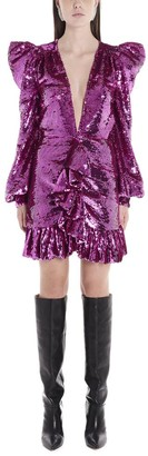 Amen Sequinned Ruffle Trimmed Mini Dress