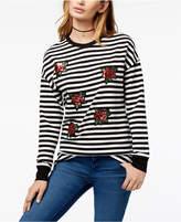 Carbon Copy Striped Sequin-Embellished Sweatshirt