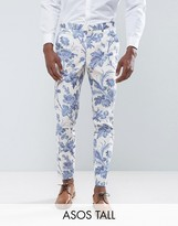 Asos Tall Wedding Skinny Suit Pants In Blue And White Cotton Floral Print