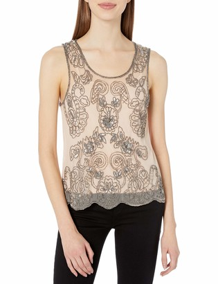 Angie Women's Sheer Beaded Tank with Detachable Cami