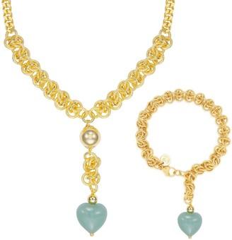 """Forever Last 18 k Gold Overlay 17""""Jade stone Heart Necklace & Bracelet"""