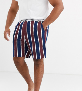 ASOS DESIGN Plus lounge pyjama short in burgundy and navy stripe with branded waistband