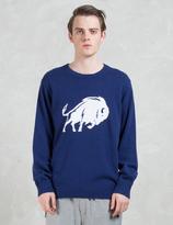 White Mountaineering Buffalo Intersia Round Neck Knit Sweater