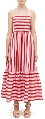 Kate Spade Calais Stripe Smocked Dress (Rosy Carnation) Women's Dress