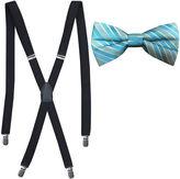 Jf J.Ferrar JF Tonal Stripe Bow Tie and Suspender Set