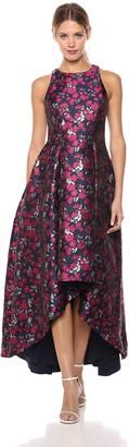 Aidan Mattox Aidan Women's Floral Printed Jacquard High-Low Gown