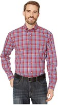 Wrangler George Strait Long Sleeve Two-Pocket Plaid Button (Red/Royal) Men's Clothing