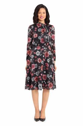 Maggy London Women's Floral Satin Metallic Stripe Side Neck tie Hanky Hem Long Sleeve Dress