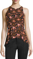 A.L.C. Stuart Sleeveless Floral Silk Top, Henna/Black/Pink