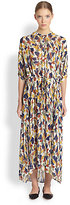 Christophe Lemaire Marble-Print Maxi Shirtdress