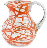 Blown Glass Orange Swirl Pitcher 84 oz Hand Blown in Mexico, 'Tangerine Swirl'
