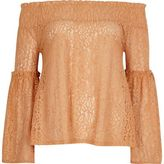 River Island Womens Orange lace flared sleeve bardot top