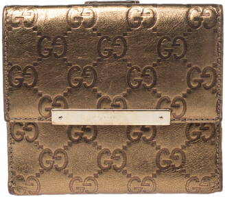 Gucci Bronze Guccissima Leather French Flap Wallet