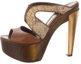 Fendi Snakeskin Platform Slide Sandals