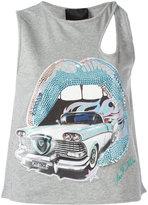 Philipp Plein car and lips strass top - women - Cotton/Polyurethane/Spandex/Elastane/glass - M