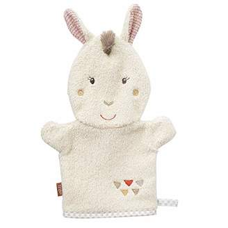 BEIGE Fehn 058215 Lama Wash Mitt with Animal Motif for Cheerful Bathing Fun for Babies and Children from 0+ Months