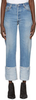 RE/DONE Blue High-Rise Straight Cuffed Jeans