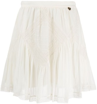 Twin-Set Crochet-Embellished Mini Skirt