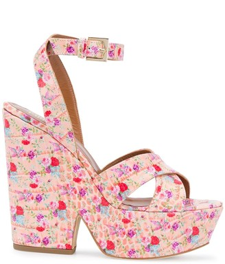 Paris Texas Floral Print Platform Sandals