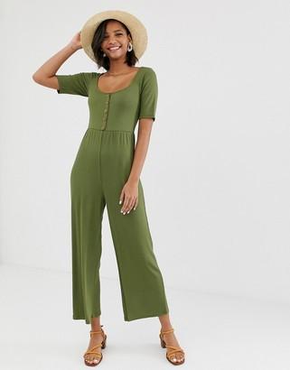 Asos Design DESIGN short sleeve rib button front jumpsuit-Green