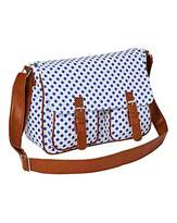 Fashion World White Dotty Canvas Satchel