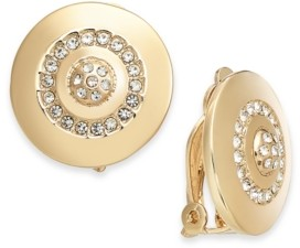 Alfani Gold-Tone Crystal Accented Disc Clip-On Earrings, Created for Macy's