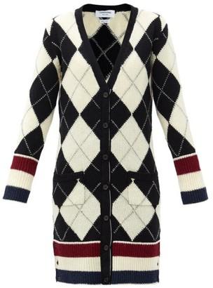 Thom Browne Argyle-intarsia V-neck Wool Cardigan - Black White