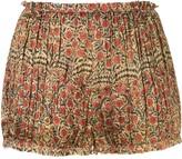 KHAITE Hilary floral print draped shorts